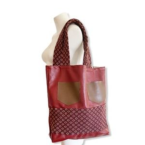 Boho Tote Bag Large  Leather Red Brown Pockets